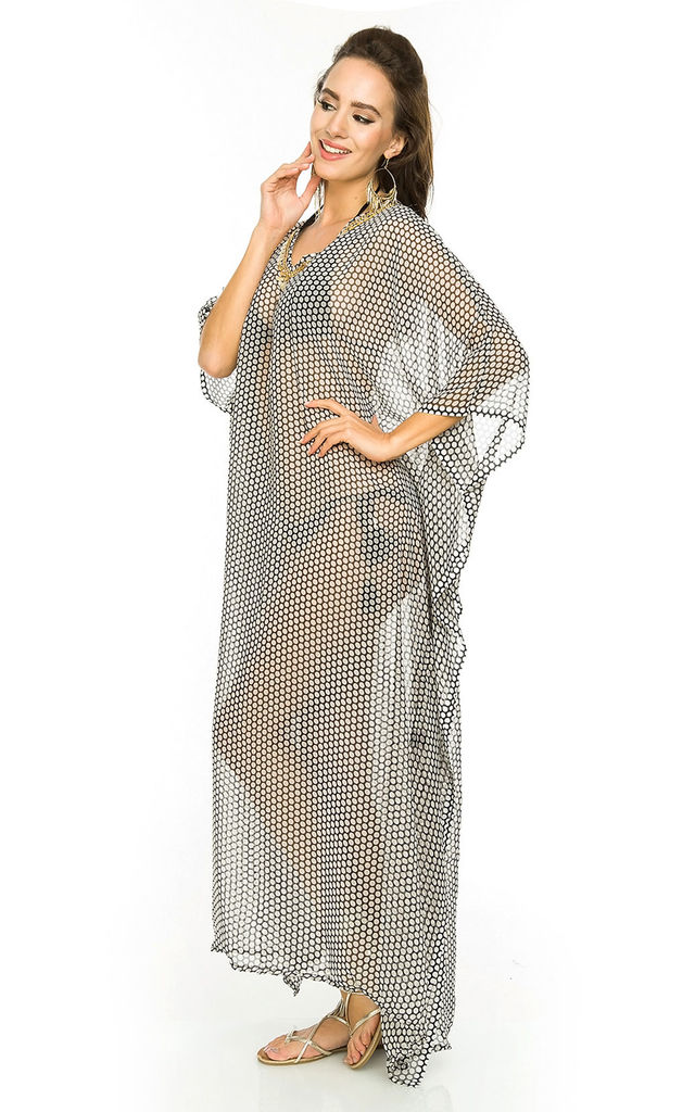 Ladies Oversized Maxi Kimono Beach Throw Kaftan Dress by Looking Glam