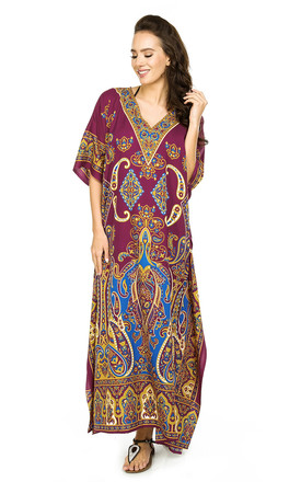 Oversized Maxi Kimono Kaftan Tunic in Red by Looking Glam