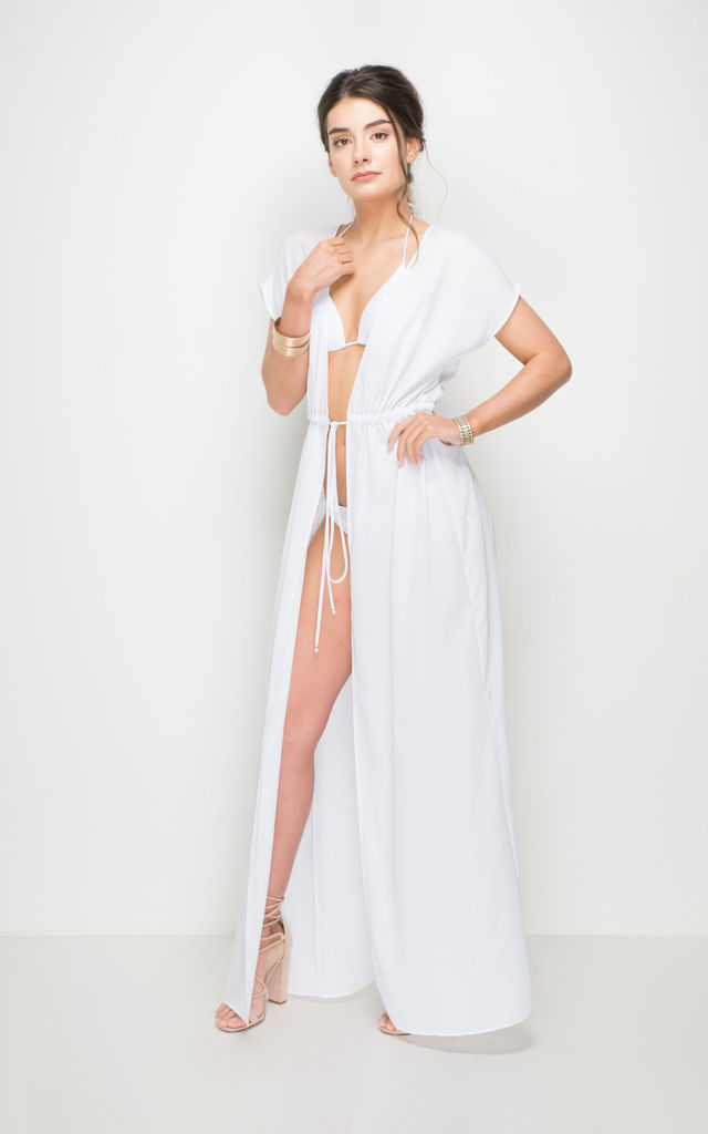 e30be042fc1 Carmela White Beach Maxi Dress Cover Up | AQUALUXE | SilkFred