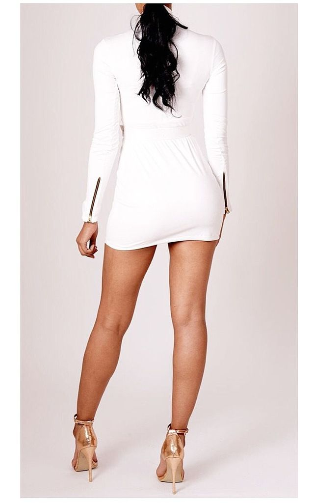 White High Neck Mini Dress In Suede by V Karla Onochie