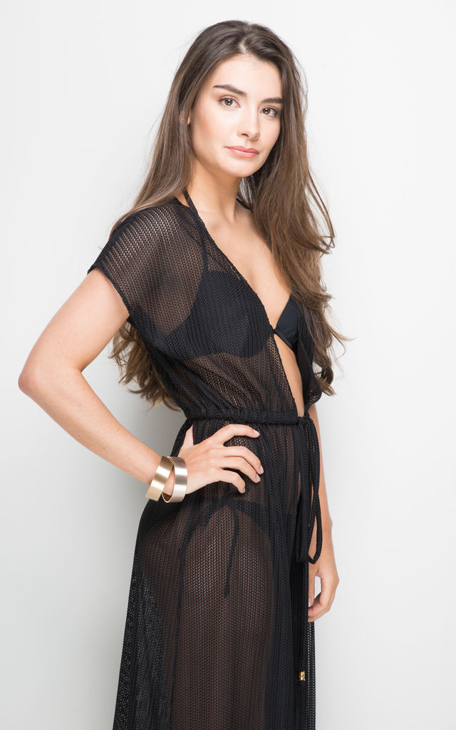 CARMELA LUXE KNIT Black Maxi Dress Cover Up by AQUALUXE