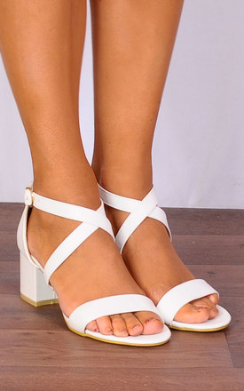 White Barely There Low Heeled Strappy Sandals by Shoe Closet