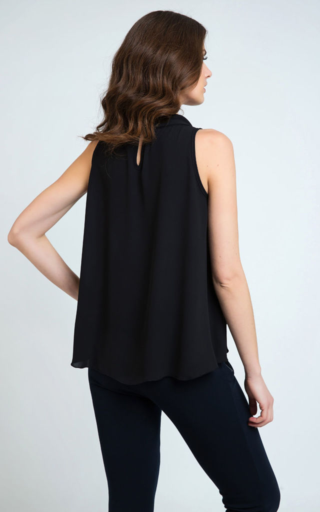 Tie Detail Sleeveless Top Black by Conquista Fashion
