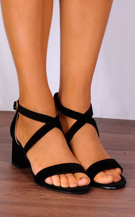 Black Barely There Low Heeled Strappy Sandals Heels Peep Toes Shoes by Shoe Closet