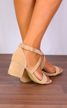 Nude Barely There Low Heeded Peep Toes Strappy Sandals Heels by Shoe Closet