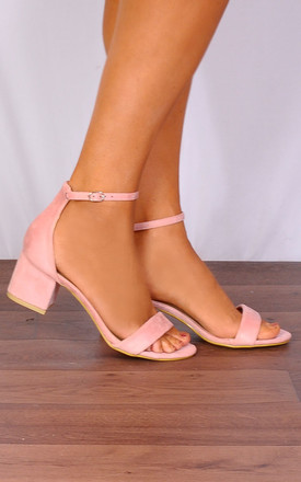 Baby Light Pink Barely There Low Heeled Strappy Sandals by Shoe Closet