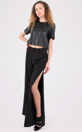 Black Leather Look Crop Top by MISSTRUTH