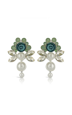 Johnny Loves Rosie Mint Flower Pearl Earrings by Johnny Loves Rosie