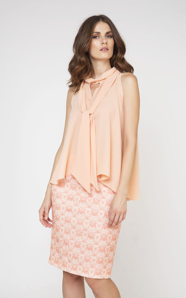 Tie Detail Sleeveless Top in Peach by Conquista Fashion