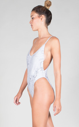 ADJUSTABLE STRAPS BODYSUIT WHITE MARBLE by ELEYTE