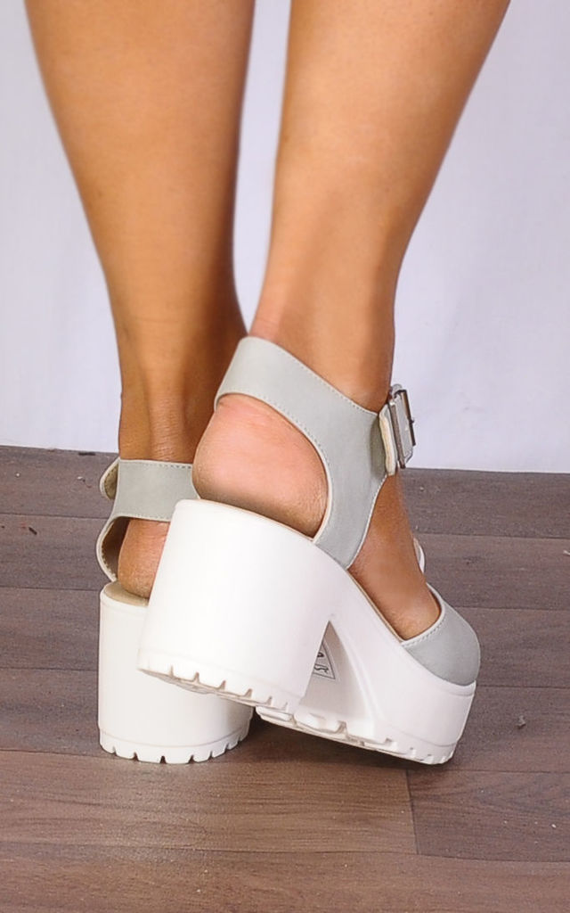 Stone and White Strappy Sandals Cleated Platforms Peep Toes High Heels by Shoe Closet