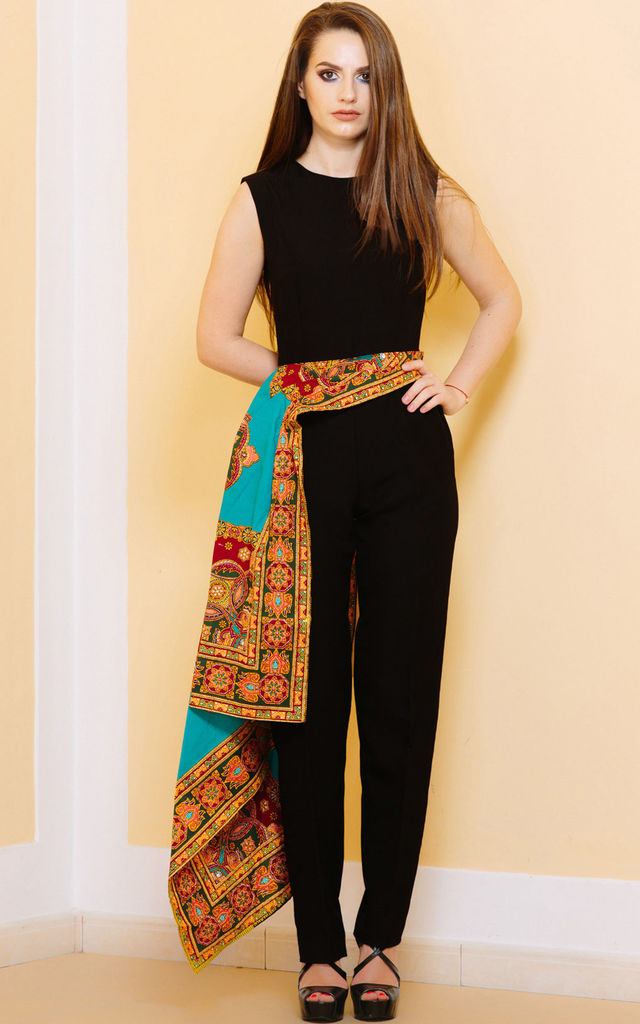 Around the World Black Jumpsuit by KITES AND BITES