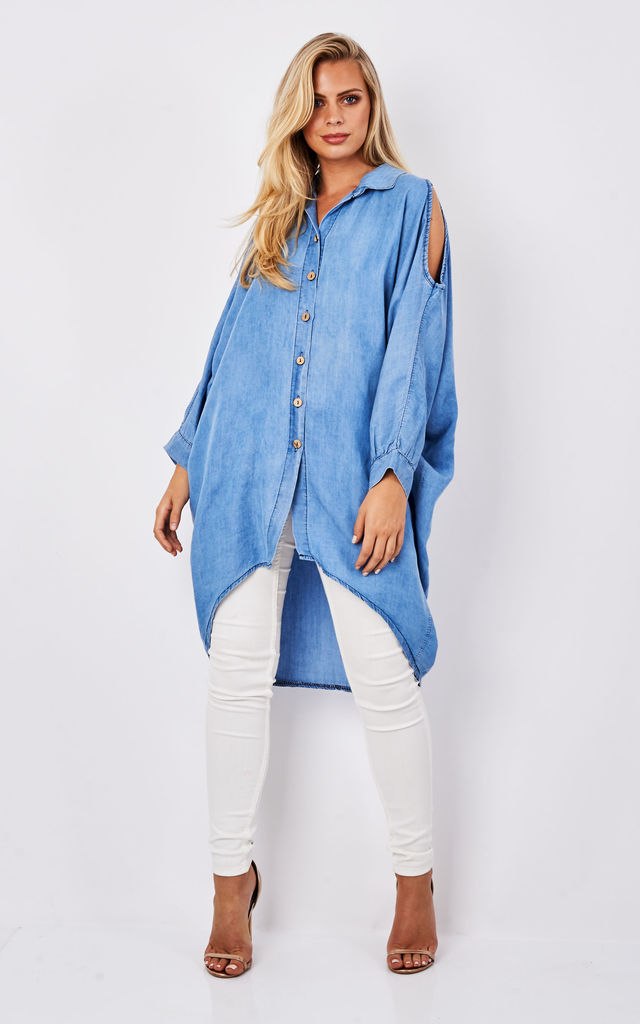 Cut Out Shoulder Long Sleeve Denim Top by Lilah Rose