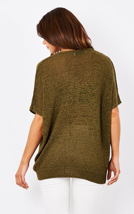 Loose knit v-neck top in green by Paisie