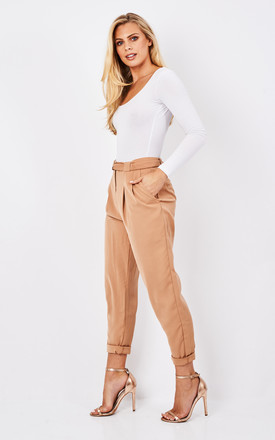 Peg leg trousers with d-ring belt in tan by Paisie