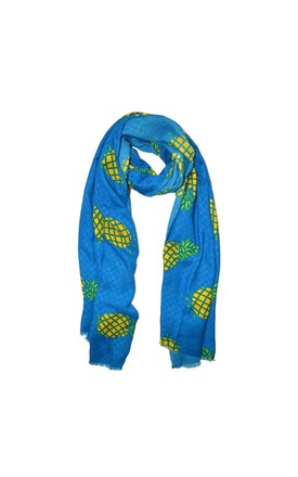 Pineapple Print Scarf In Blue by White Leaf Product photo