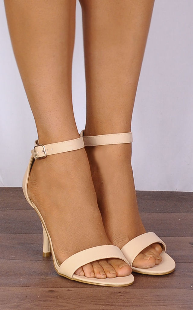 Nude Barely There Peep Toes Strappy Sandals High Heels by Shoe Closet