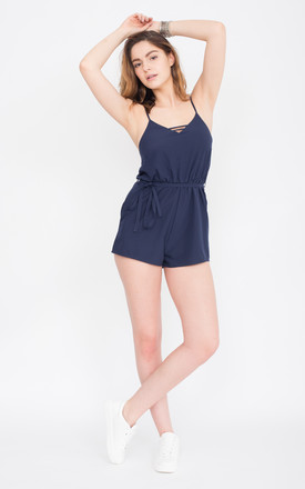 Strappy Playsuit Cote D'Azur Navy Blue by likemary