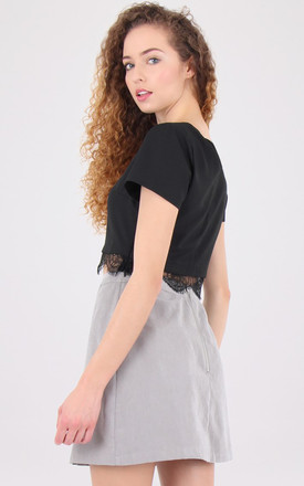A Line Banded Suede Look Pencil Mini Skirt by MISSTRUTH