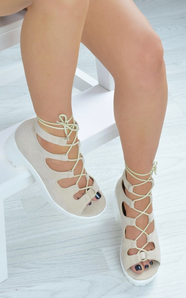 Chunky Lace Up Sandals - Cream Suede by AJ | VOYAGE