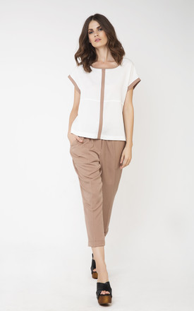 Tie Detail Trousers in Light Brown by Conquista Fashion