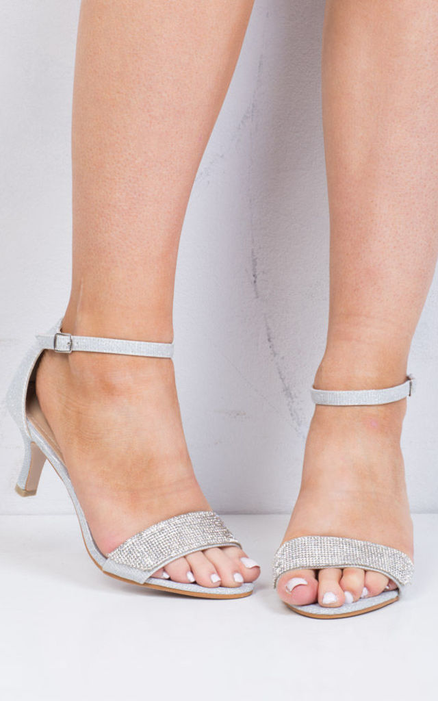 Diamante Embellished Heeled Sandals Silver by LILY LULU FASHION