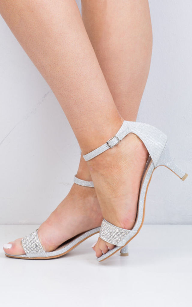 79755277a731 Diamante Embellished Heeled Sandals Silver by LILY LULU FASHION