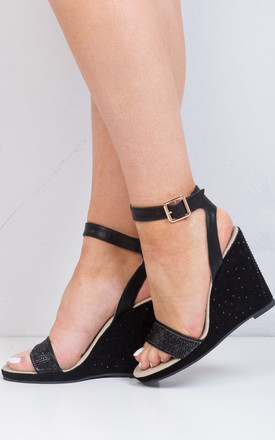 Diamante Embellished Wedge Sandals Black by LILY LULU FASHION