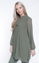 KHAKI CHIFFON PLEATED LONG SLEEVE BLOUSE by Aftershock London