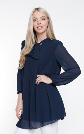 NAVY CHIFFON PLEATED LONG SLEEVE BLOUSE by Aftershock London