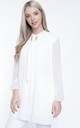 WHITE CHIFFON PLEATED LONG SLEEVE BLOUSE by Aftershock London