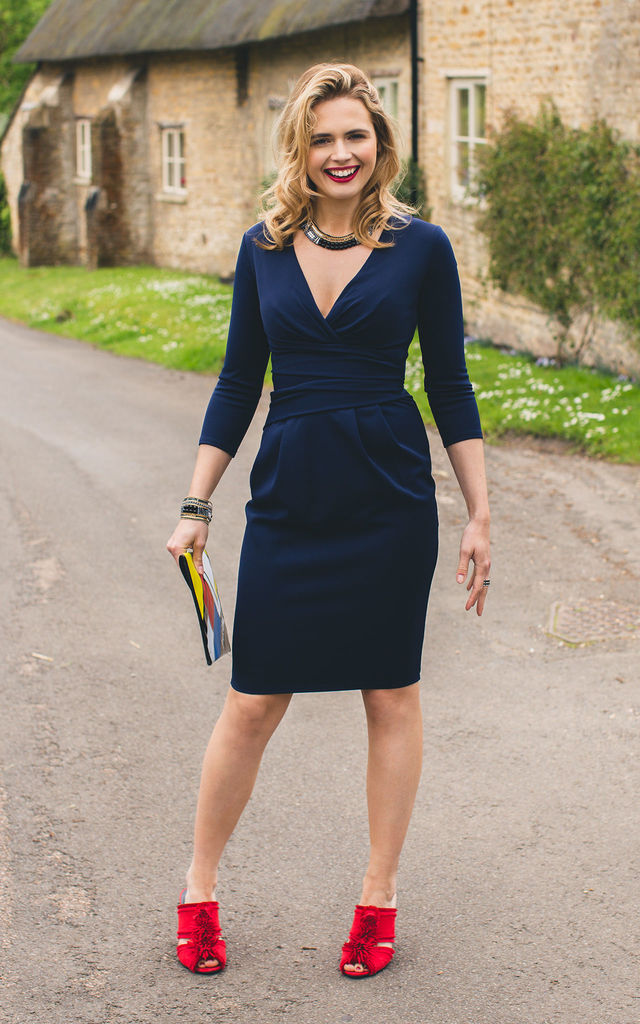 Emily, in Navy Midi Dress by Miss Pandora