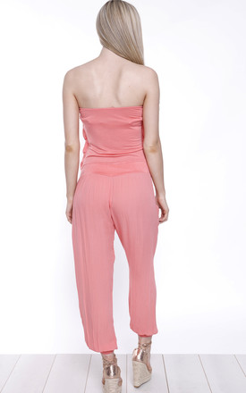 CORAL FRILL BANDEAU JUMPSUIT by Aftershock London