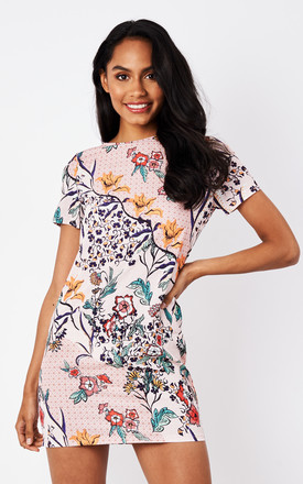 Pink Multi Floral T-Shirt Style Dress by Glamorous