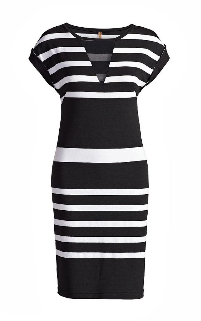 Straight Striped Dress in Black/White by Conquista Fashion