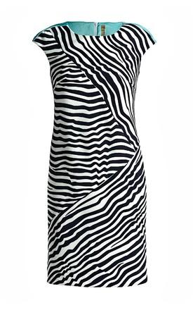 Sleeveless Striped Fitted Dress in Black/White by Conquista Fashion