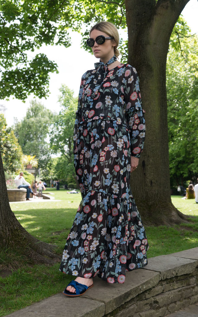 Black Floral Maxi Dress With Frill Detail by Minkie
