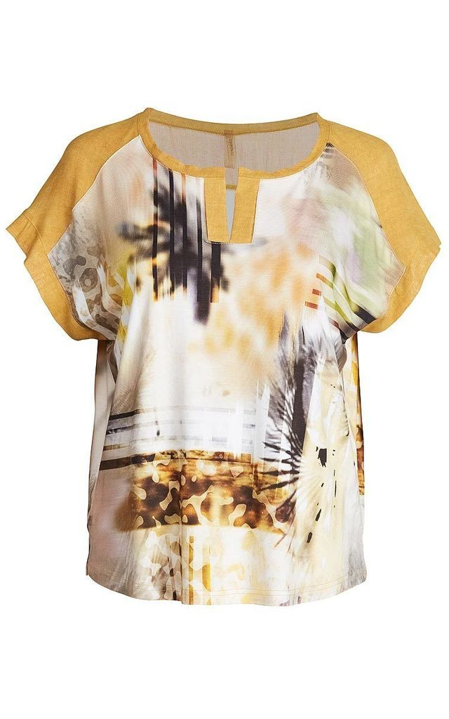 Print Top with Solid Colour Detail by Conquista Fashion