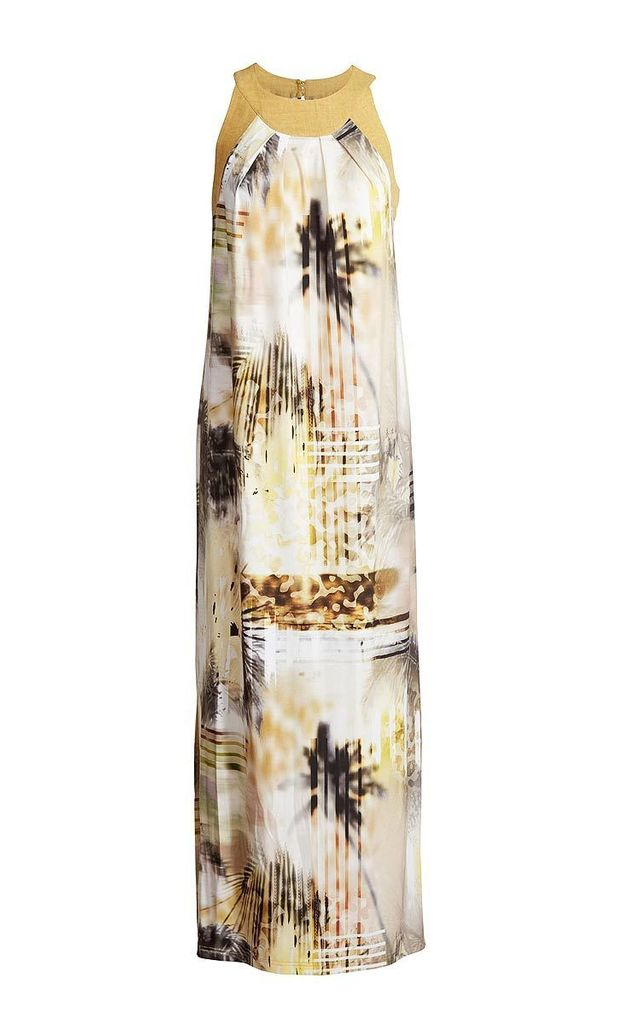 Maxi Dress with Slits in Yellow Print by Conquista Fashion