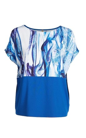 Loose Fit Sleeveless Top in Blue Print by Conquista Fashion