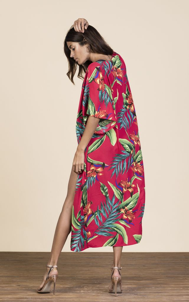 Lola Kimono Red Tropical by Dancing Leopard