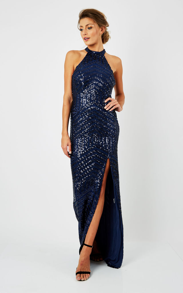 461f41dd48d D.Anna Halterneck Sequin Embellished Maxi Dress in Navy by D.Anna