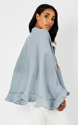 Over-sized batwing embellished & pleated blouse with frill by D.Anna