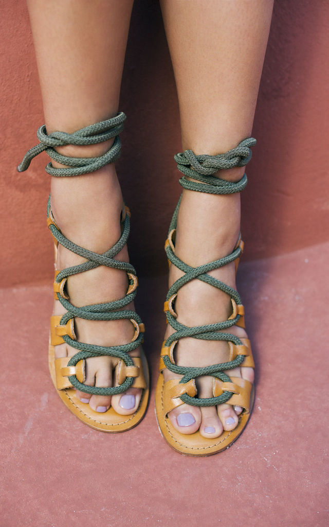 Khaki rope lace up sandals by What Frankie Did Next