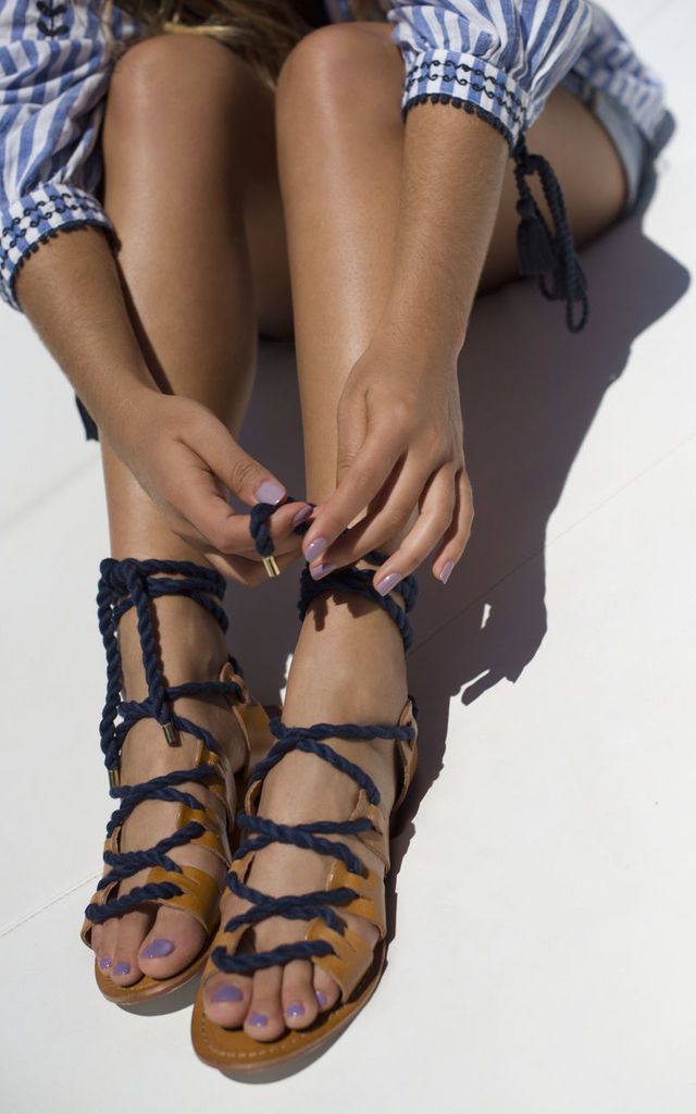 Nautical navy rope lace up sandals by What Frankie Did Next