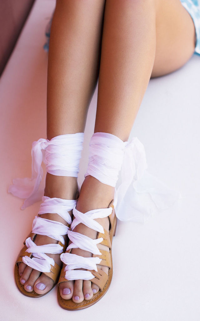 Silk lace up sandals in White by What Frankie Did Next