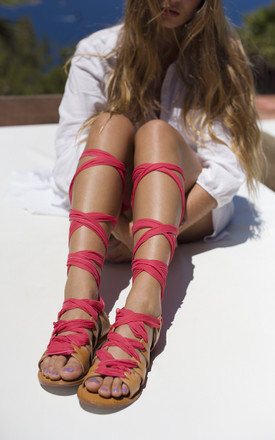 Silk lace up sandals in Coral by What Frankie Did Next