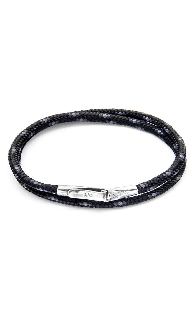 Black Liverpool Silver and Rope Bracelet by ANCHOR & CREW