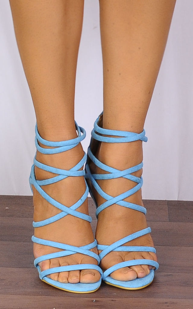 Turquoise Blue Barely There Stiletto Heels with Straps by Shoe Closet