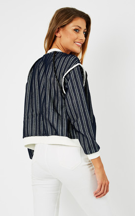 Contrast colour zip-up bomber jacket by D.Anna